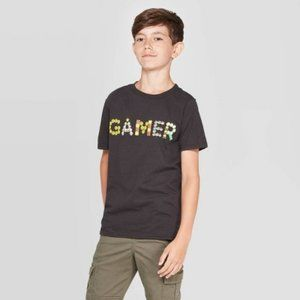 Super Mario Boys' Short Sleeve T-Shirt - Black New